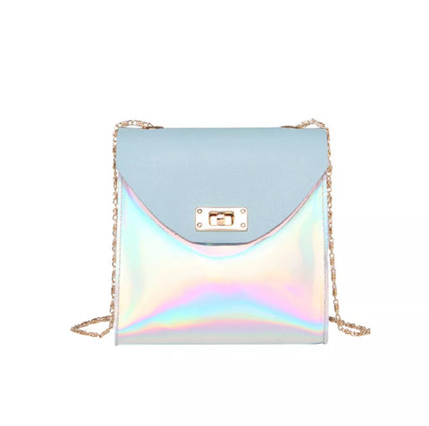 Accessories - Iridescent Leatherette Sky Blue Purse, Crossbody Style