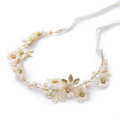 Handmade White And Gold Floral Pearl & Rhinestone Vine Crown
