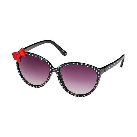 kids oversized retro polka dot sunglasses, black with red bow