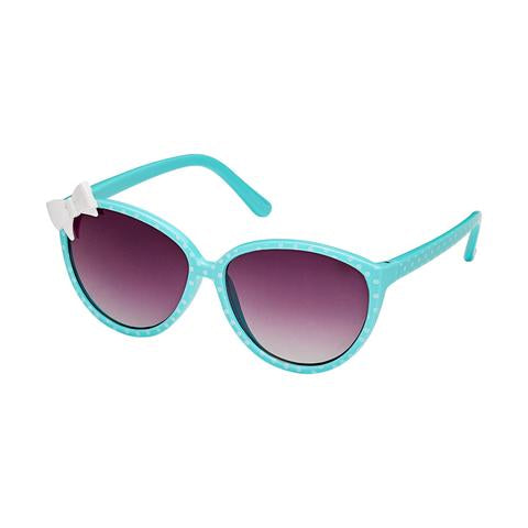kids retro sunglasses, polka dot with white bow, baby blue frames