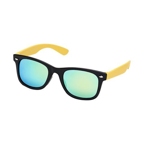 Classic ray ban style wayfarer kids sunglasses, black with yellow