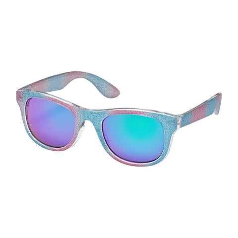 kids sunglasses, wayfarer, glitter frames, mirrorred lenses