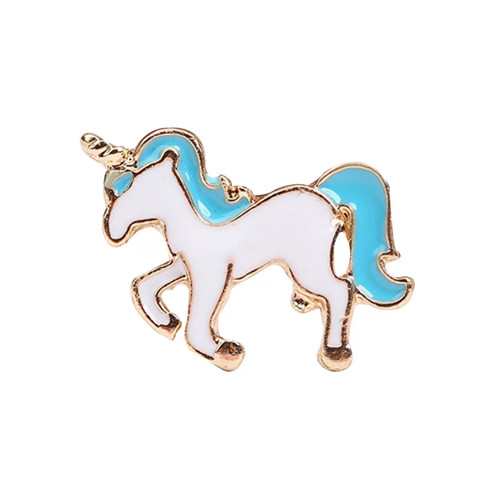 Gold Plated White Unicorn with a Blue mane and tail gold horn Ring
