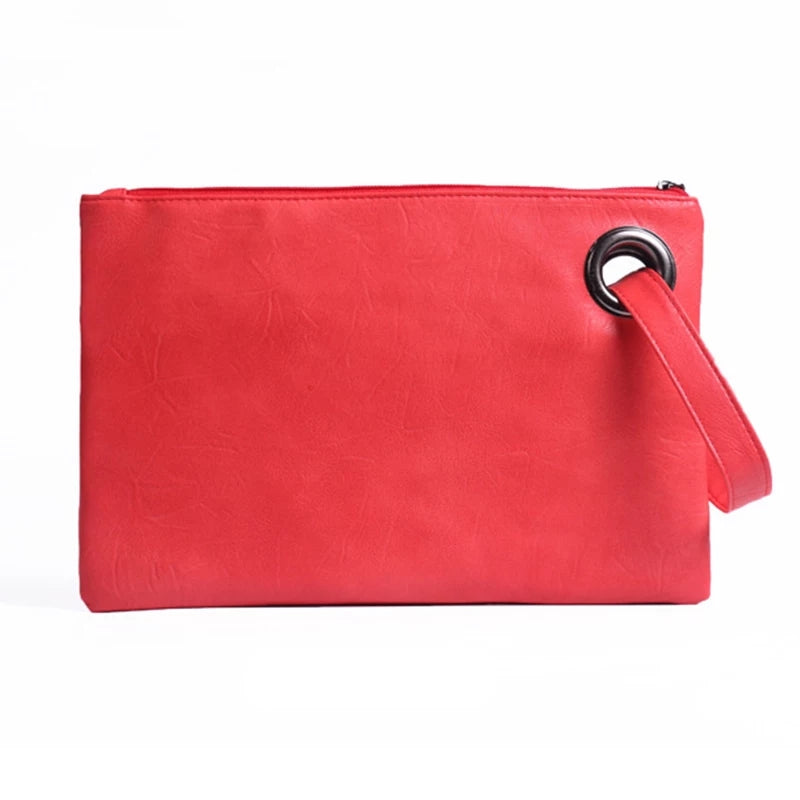 Ladies Red Leatherette Clutch/Handbag, Zipper at the top