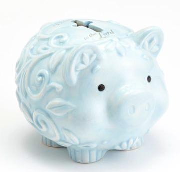 Enesco Baby Gifts, Dedication to the Lord Piggy Bank, Blue