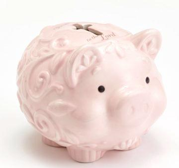 Enesco Baby Gifts, Dedication to the Lord Piggy Bank, Soft Pink