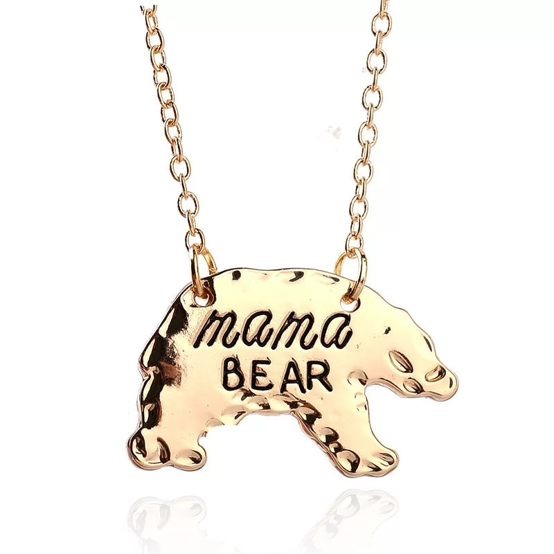 Mama Bear Pendant Necklace - Gold
