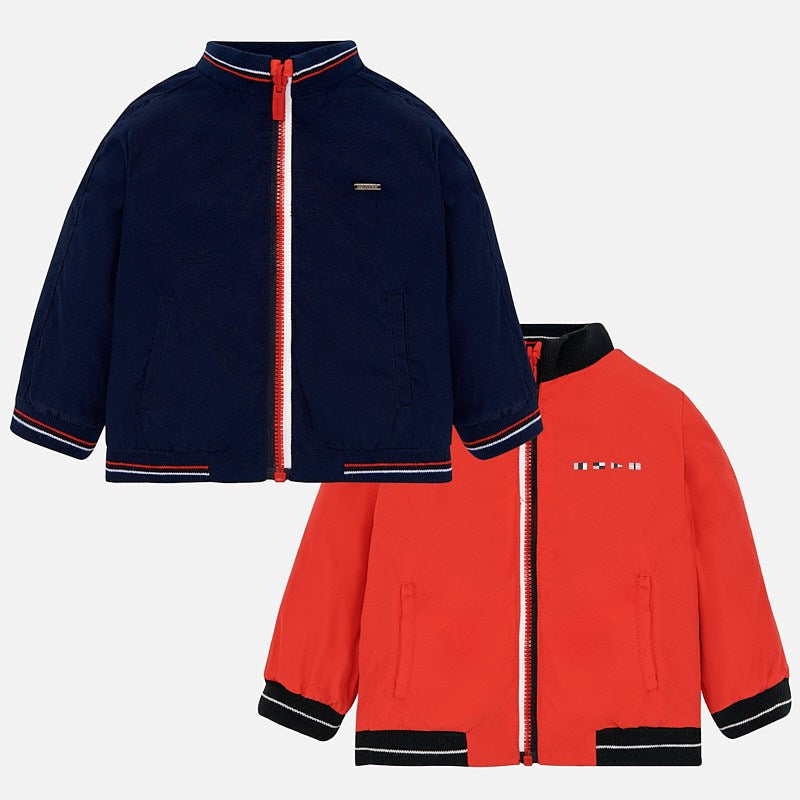 Reversible Windbreaker for boys, navy and orange sailing, yacht club