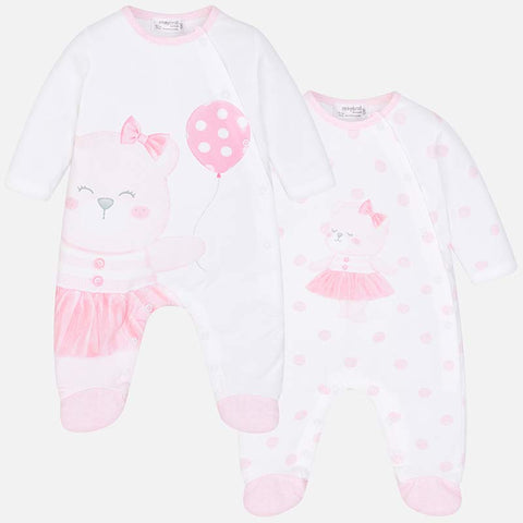 1709 Mayoral Pink & White Bear Tutu Footie PJs
