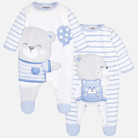 M1727 Mayoral Blue & White Bear Backpack and Balloon Print Footie PJs