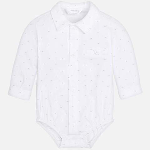 Mayoral 1738 Collared Dress Shirt Bodysuit, White/Silver
