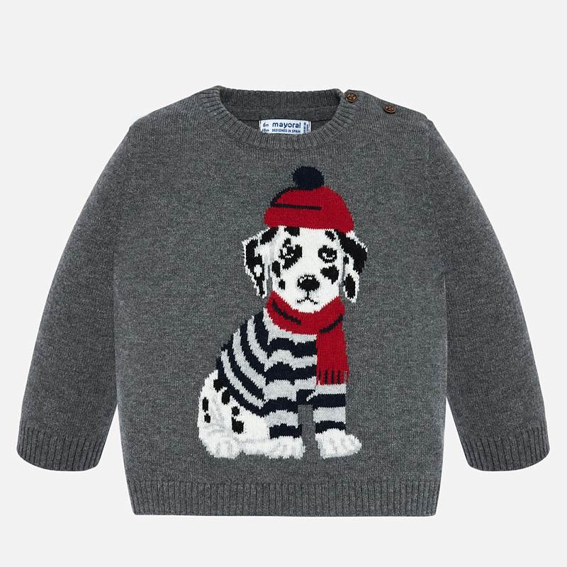 2324 Mayoral Boys Gray Wool Crewneck Knit w/ Dalmation Wearing Scarf and Beanie