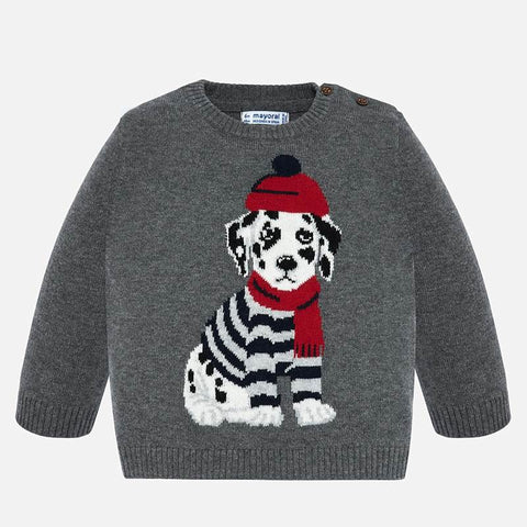 2324 Mayoral Boys Gray Crewneck Knit w/ Dalmation