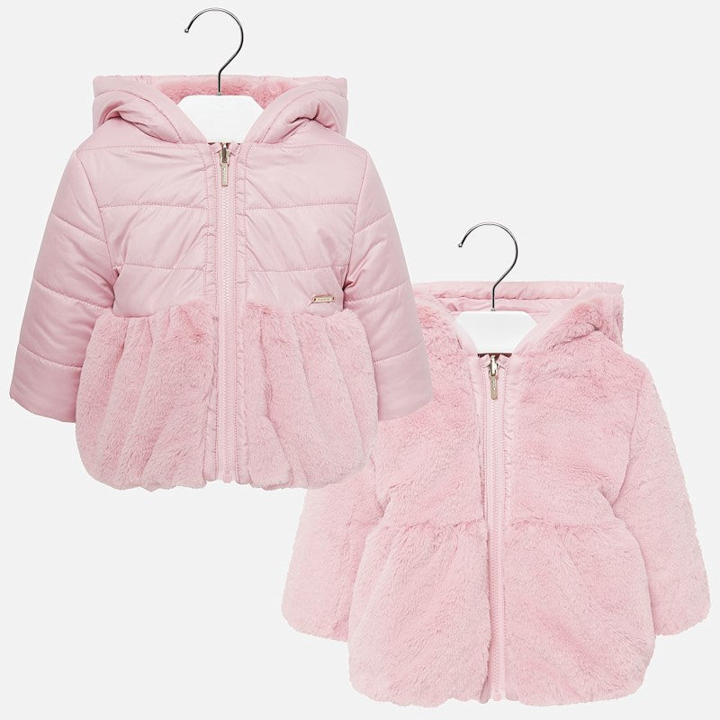 2433 Mayoral Pink Reversible Fur Jacket