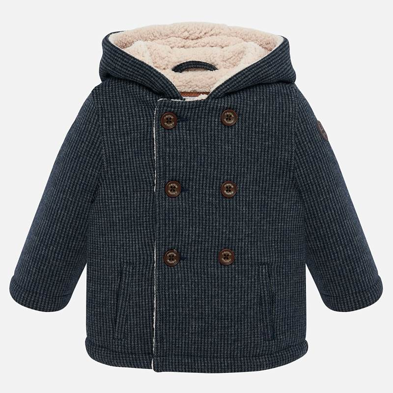 super soft faux fur lined classic peacoat for little toddlers, mayoral spain