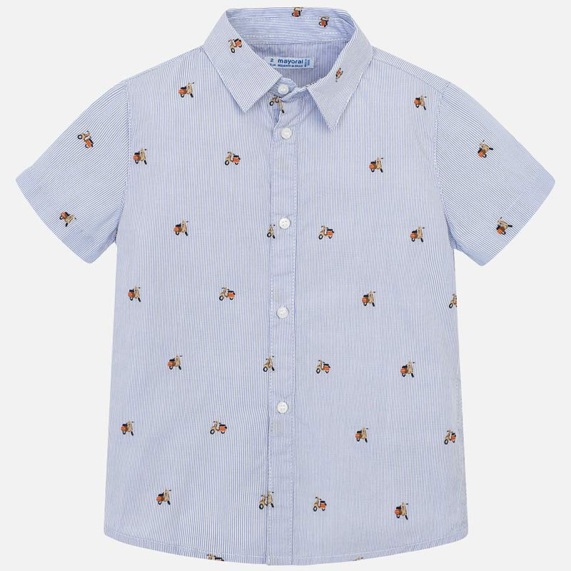 light blue scooter print button up boys short sleeve, boys dress shirt