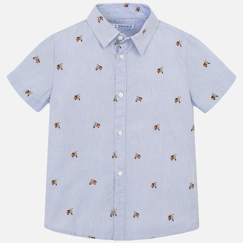 Mayoral 3130 S/S Scooter Print Blue Button Up