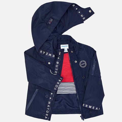 Mayoral 3433 Boys Windbreaker, Sailing Jacket, Removable Hoodie, Navy