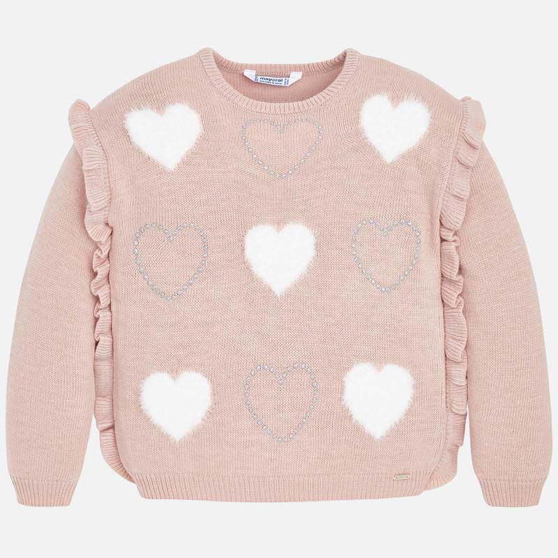 Angora heart and sparkle knit sweater, ruffled pink, Mayoral 4304