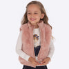 girls puffer reversible vest, dusty rose pink, faux fur, mayoral 4308