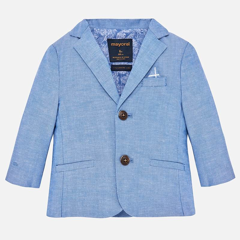 Mayoral 1429 Little Boys Chambray Blue Linen Suit Jacke w/ 2 buttonst