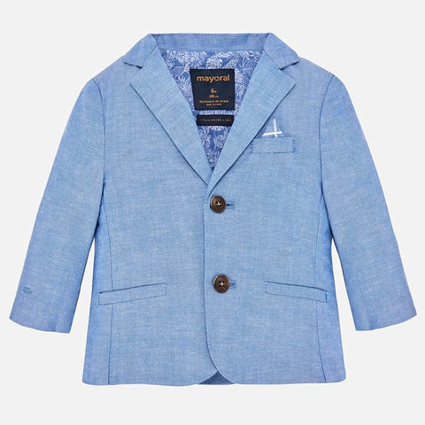 Mayoral 1429 Little Boys Chambray Blue Linen Suit Jacket