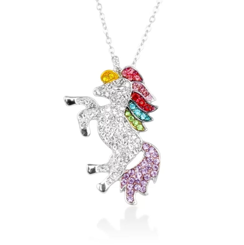 rainbow unicorn cz necklace for kids, colorful rhinestones on silver chain