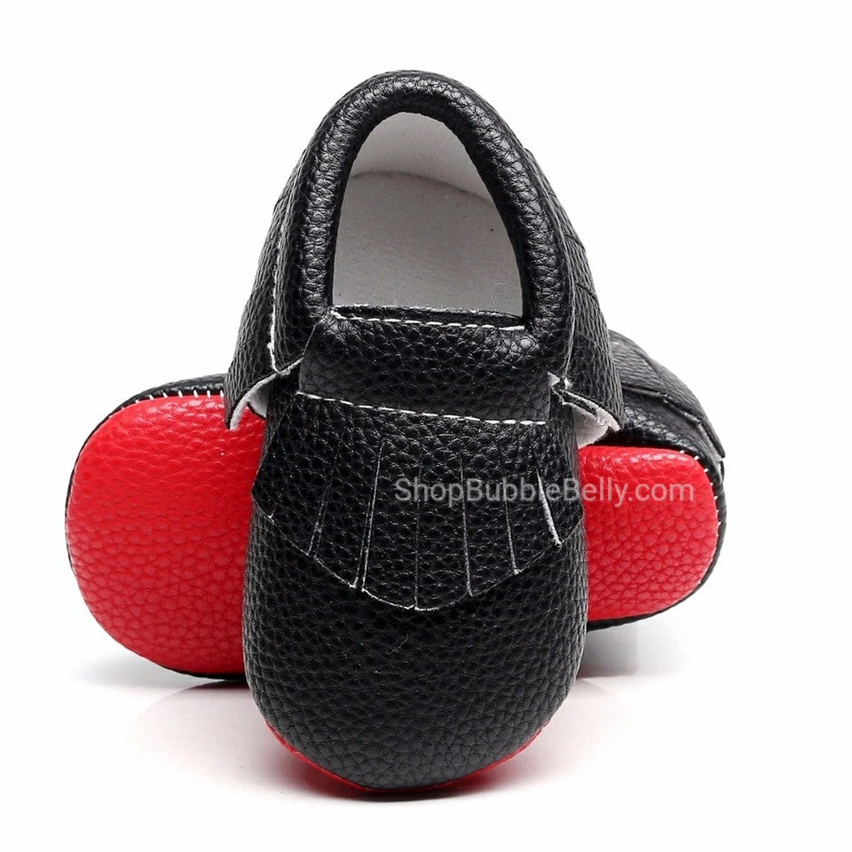 b21cddd5558 Baby Shoes Leatherette Moccasins, Little Boutin Red Bottoms – Bubble ...