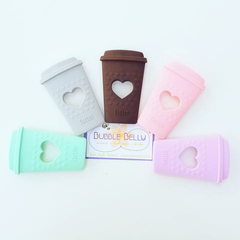 Silicone Chew & Teething Toy, Soft Silicone Textured Coffe Cup