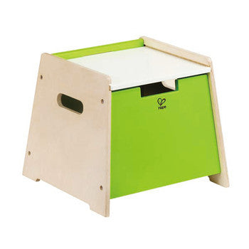 Sit and stow wooden stool, step stool, and toy box in one.  Kids wooden toys storage box.
