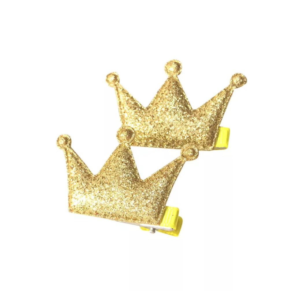 Handmade Non-Slip Hair Clips - Sparkly Crown Gold