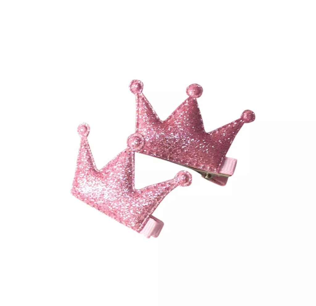 Handmade Non-Slip Hair Clips - Sparkly Crown Pink