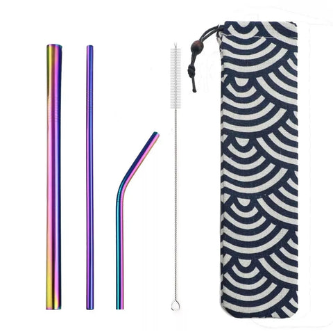 5 PC Stainless Steel Straw Set & Pouch, Rainbow