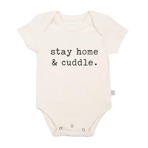 Organic Cotton Snap Bodysuit, Finn & Emma, Stay Home & Cuddle
