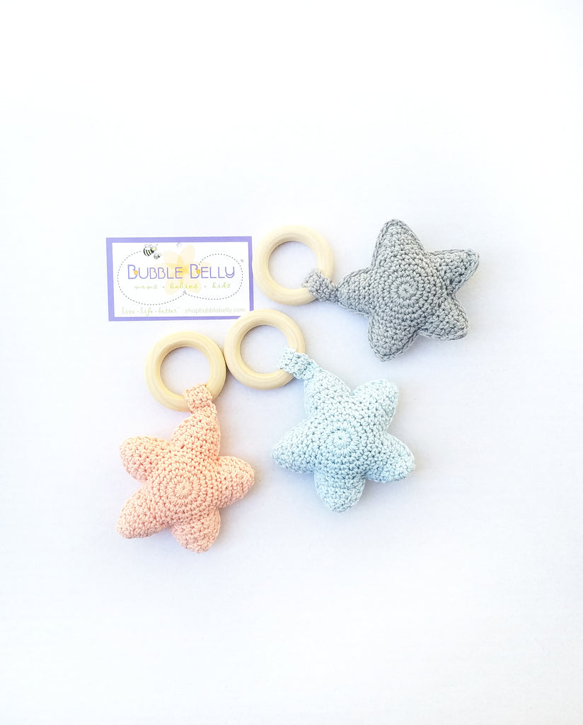Chew/Teething Accessory - Baby Teether & Rattle Toy, Soft Knit Star w/Raw Beech Wood