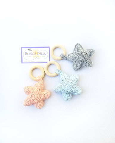Chew/Teething Accessory - Crochet Baby Teether & Rattle Toy, Soft Star w/Raw Beech Wood
