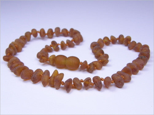 Baltic Amber Teething Necklace - Amber Colored, Raw Beads