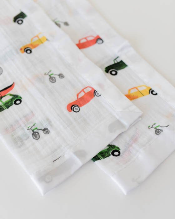 Muslin Security Blankets/Lovies, 2 Pack - Vehicles