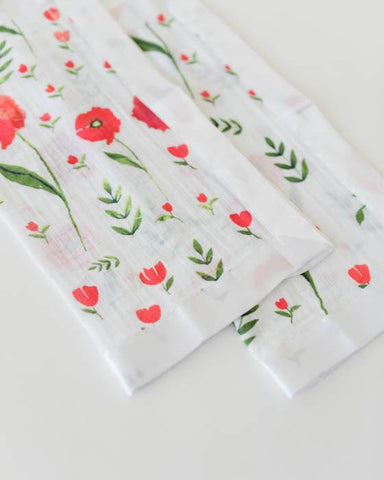 2 Pack Cotton Muslin Security Blankets/Lovies - Poppies