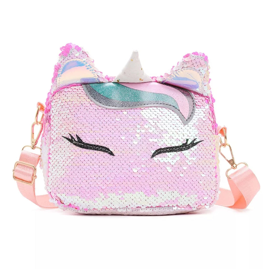 Pink and White Sequin Unicorn CrossBody Bag with Adjustable Strap