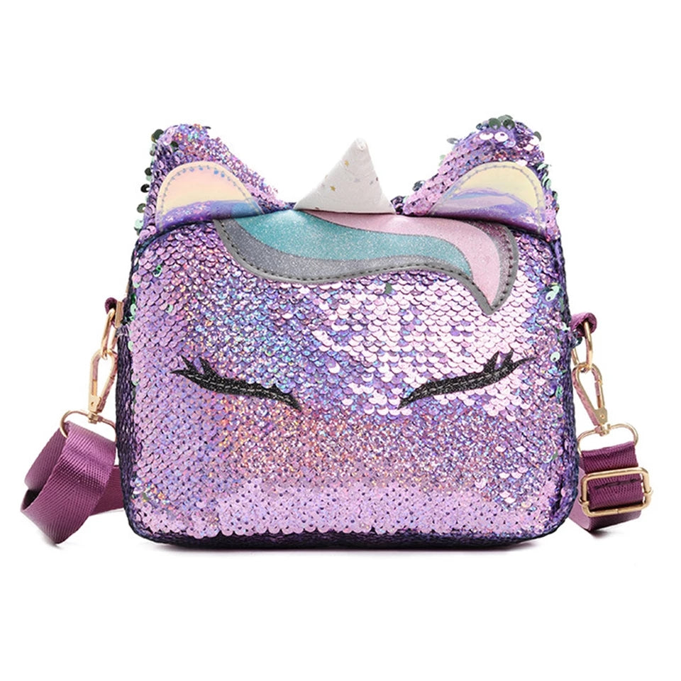 Purple and White Sequin Unicorn CrossBody Bag with Adjustable Strap