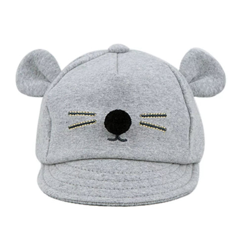 Hat, Unisex, Adjustable Baseball Cap with Ears, Grey