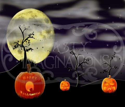 Happy Halloween Pumpkins Night Template