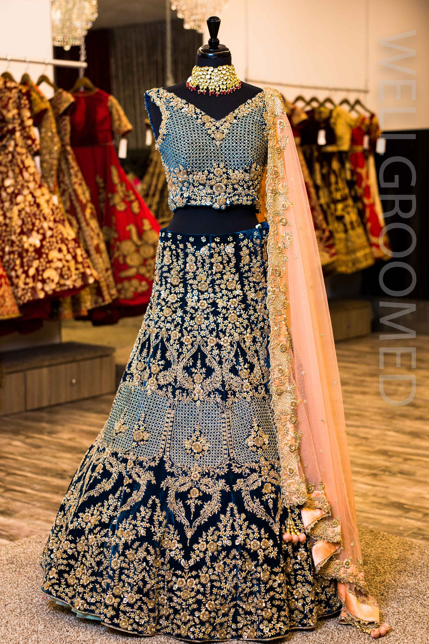 Teal Micro Velvet Lengha Wellgroomed Designs Inc