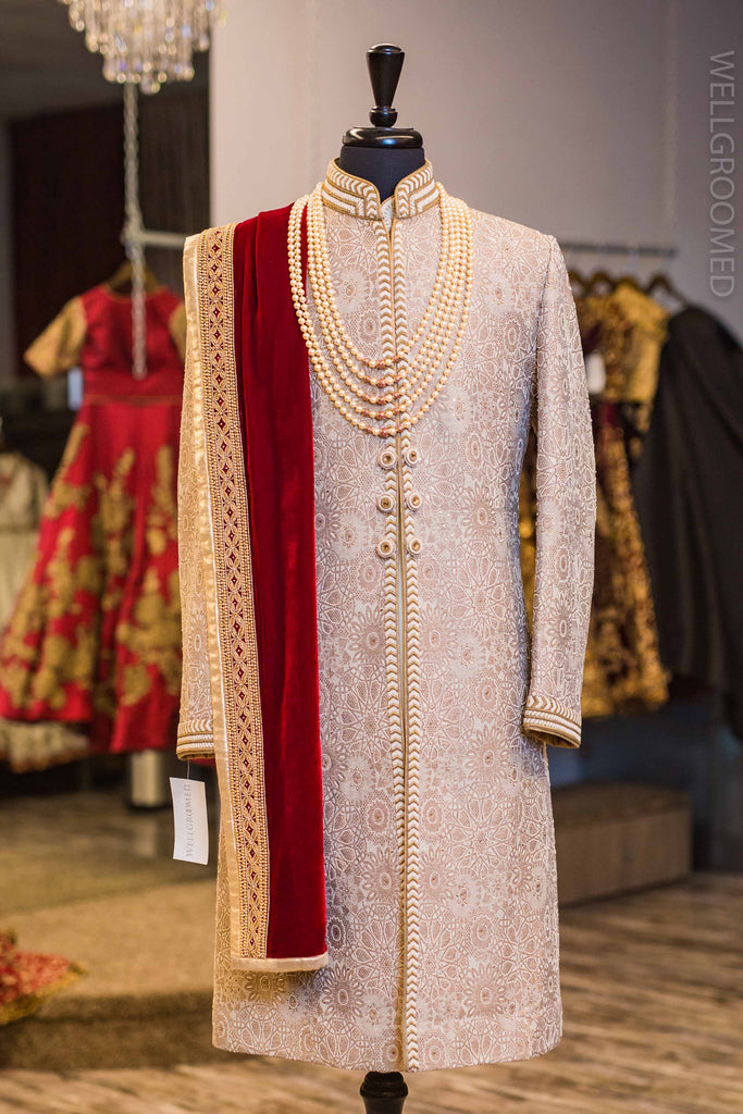 Taupe and Gold Sherwani