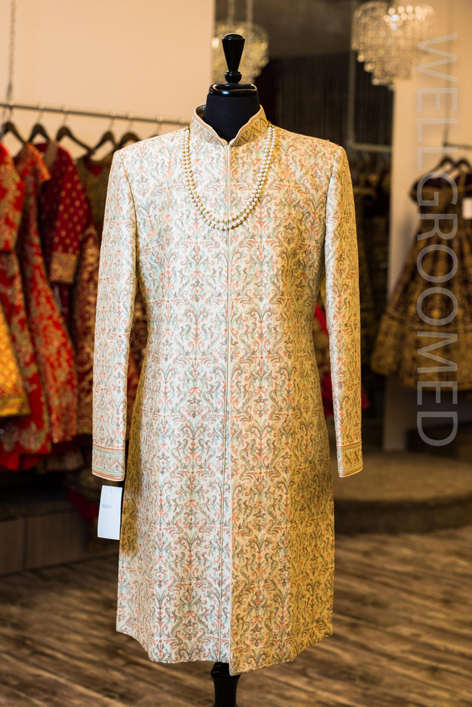 Raw Silk Sherwani with Peach and Mint Green