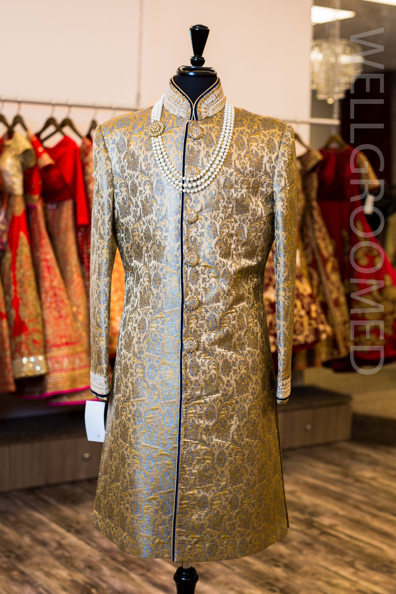 Gold and Grey Brocade Sherwani