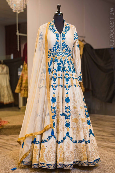 White Anarkali with Blue Embroidery