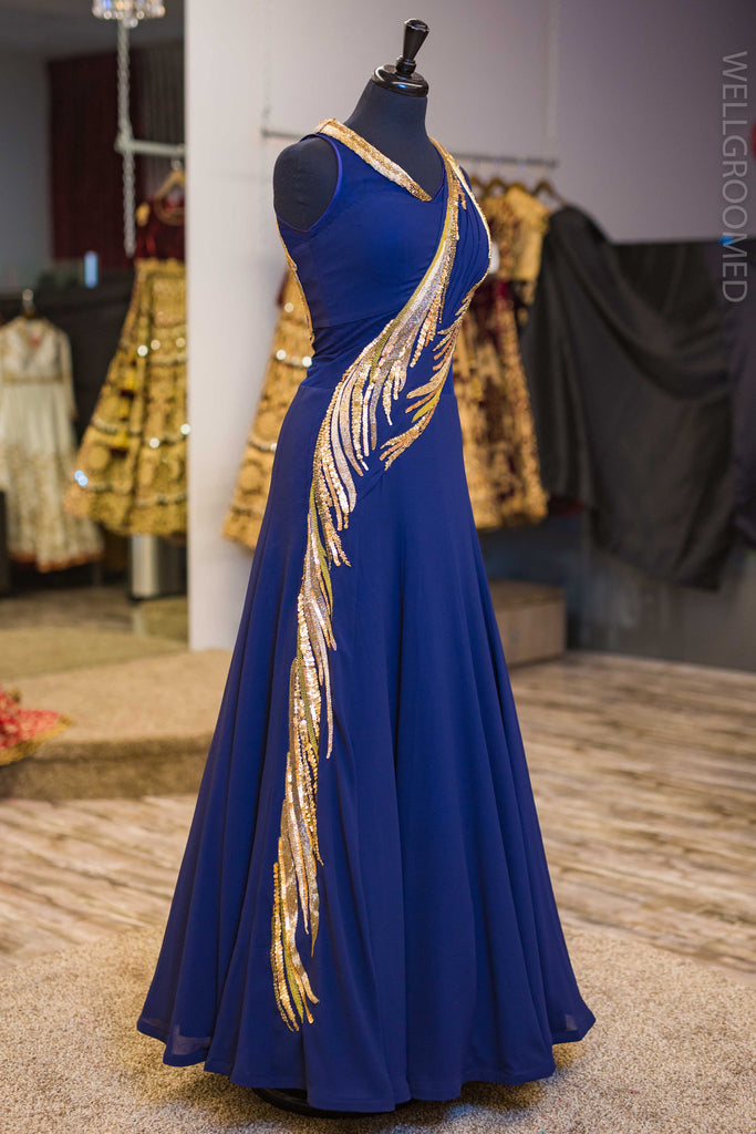 Midnight Blue Sari Gown