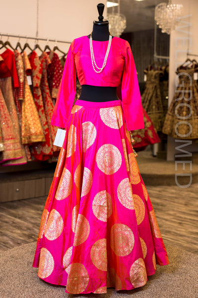 Hot Pink Brocade Lengha